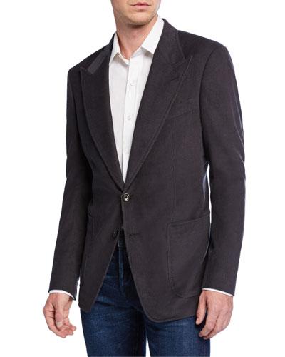 Men's Shelton Corduroy Two-Button Jacket, Gray