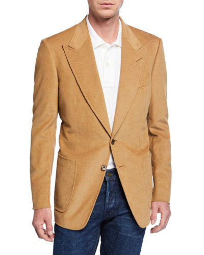 Men's Shelton Corduroy Two-Button Jacket, Beige