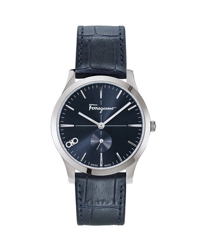Men's Slim Gent 40mm Textured Leather Watch