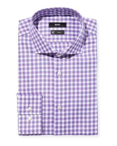 Men's Slim-Fit Travel Check Dress Shirt, Purple