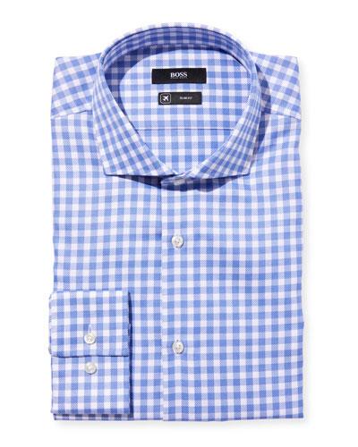 Men's Slim-Fit Travel Check Dress Shirt, Blue