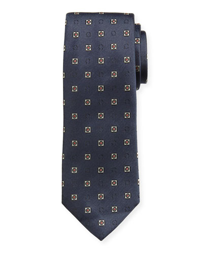 Men's Gancini Medallion Silk Tie, Navy