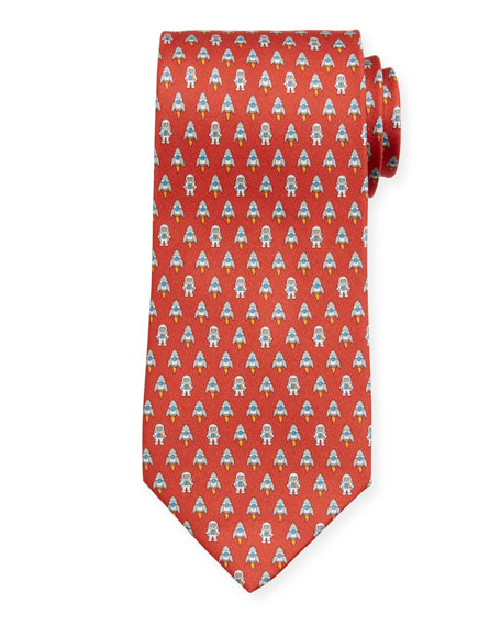 Salvatore Ferragamo Men's Isea Space Silk Tie, Red