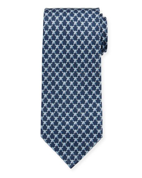 Salvatore Ferragamo Men's Indro Silk Bull-Print Tie, Blue