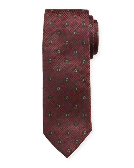 Salvatore Ferragamo Men's Iseo Gancio Silk Tie, Burgundy