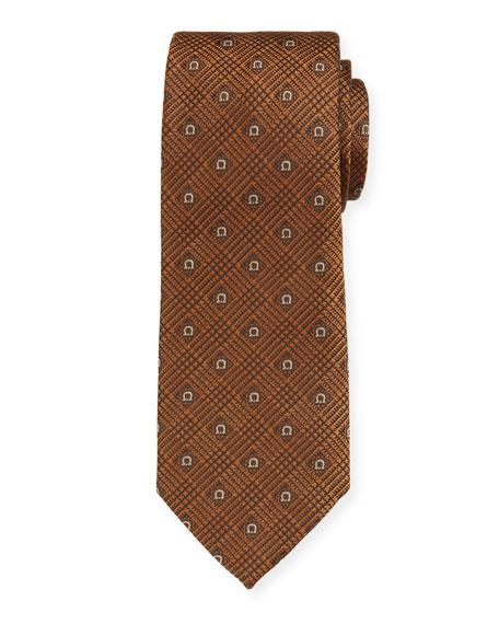 Salvatore Ferragamo Men's Iseo Gancio Silk Tie, Brown