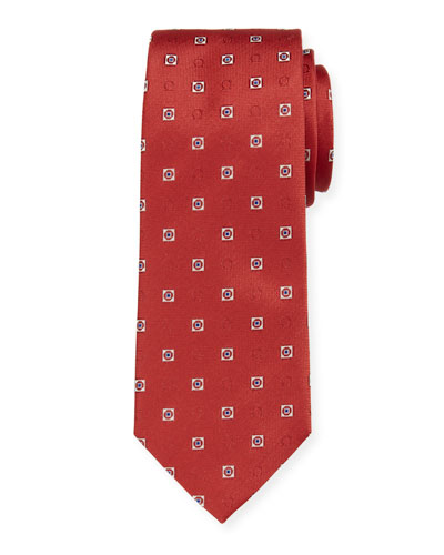 Men's Ivrea Gancini Medallion Silk Tie, Red