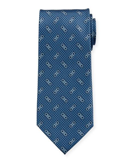 Salvatore Ferragamo Men's Vintage Gancini Silk Tie, Blue