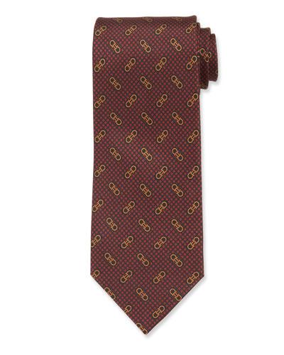 Men's Vintage Gancini Silk Tie, Red