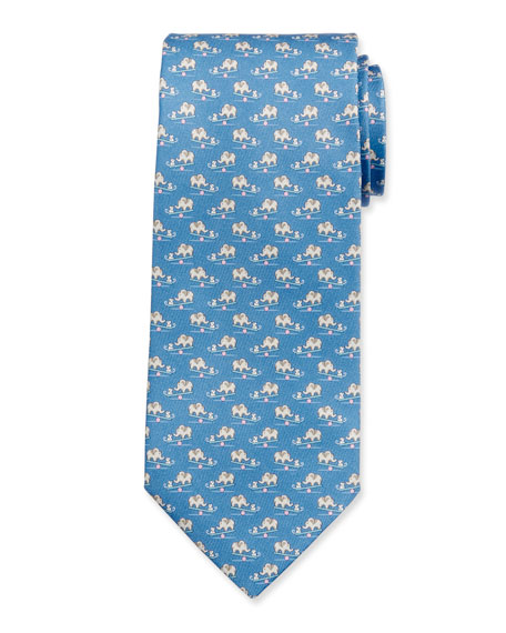 Salvatore Ferragamo Men's Ilan Silk Mouse & Elephant Tie, Blue