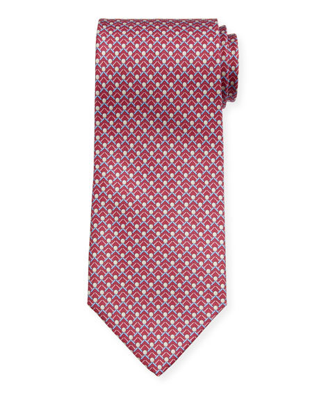 Salvatore Ferragamo Men's Iago Golf Ball & Tees Silk Tie, Magenta