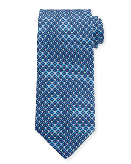 Salvatore Ferragamo Men's Iago Golf Ball & Tees Silk Tie, Blue