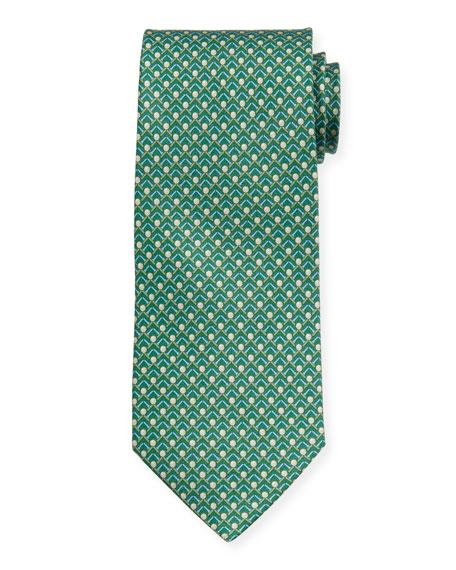 Salvatore Ferragamo Men's Iago Golf Ball & Tees Silk Tie, Green