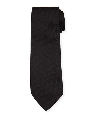 Solid Textured Mulberry Silk Tie, Black