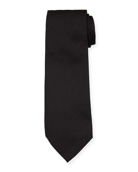 Emporio Armani Solid Textured Mulberry Silk Tie, Black