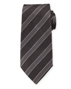 Emporio Armani Mulberry Silk Diagonal Stripe Tie, Gray/Black