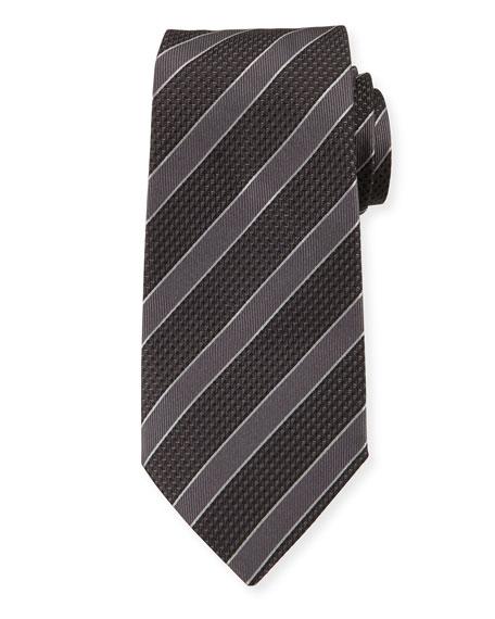 Emporio Armani Mulberry Silk Diagonal Stripe Tie, Gray/Black