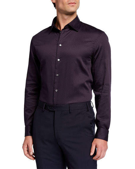 Emporio Armani Men's Micro-Dot Pattern Cotton Sport Shirt