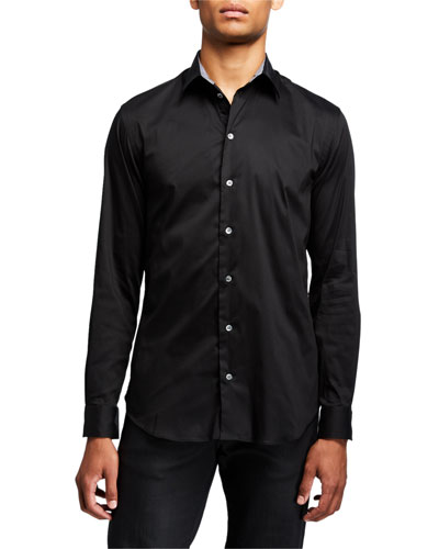 Men's Solid Sport Shirt with Contrast Detail