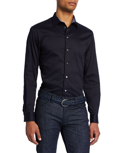 Men's Solid Sport Shirt with Contrast Trim