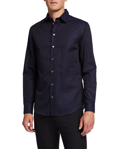 Emporio Armani Men's Fancy Chevron Pattern Sport Shirt