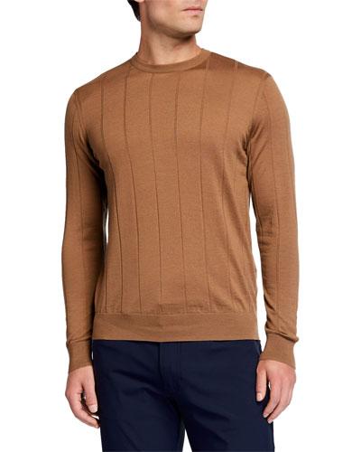 Men's Fine-Gauge Windowpane Crewneck Sweater