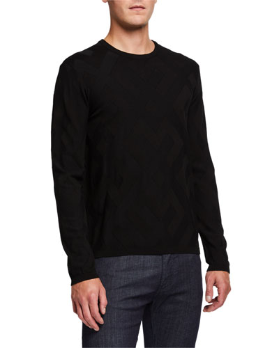 Men's Crewneck Tonal-Pattern Sweater