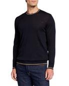 Emporio Armani Men's Fine-Gauge Virgin Wool Crewneck Sweater