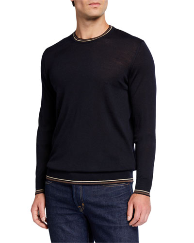 Men's Fine-Gauge Virgin Wool Crewneck Sweater