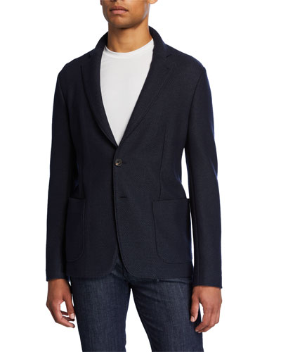 Men's Textured Two-Button Soft Jacket
