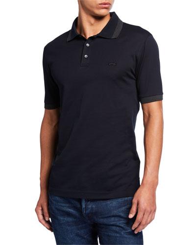 Men's Tipped-Collar Pique Polo Shirt