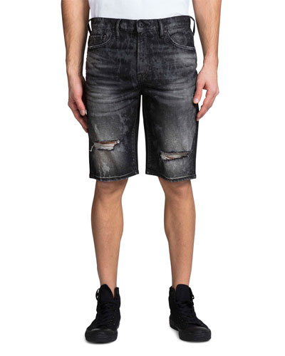 Men's Double Rip Bleached Denim Shorts