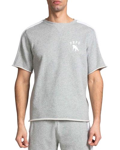 Men's Crewneck Short-Sleeve Fleece Stripe Top