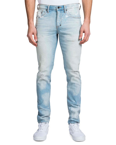 Men's Windsor Fit Hand-Painted Light-Wash Denim Jeans