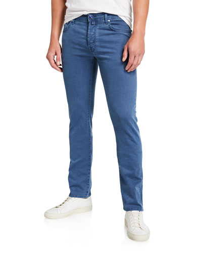Men's Brushed 5-Pocket Jeans, Light Blue