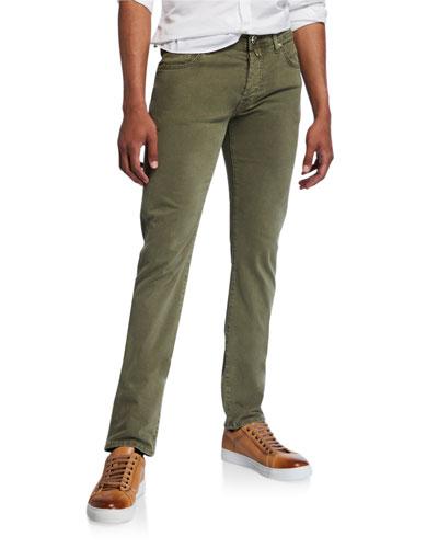 Men's Brushed Denim 5-Pocket Jeans, Light Green
