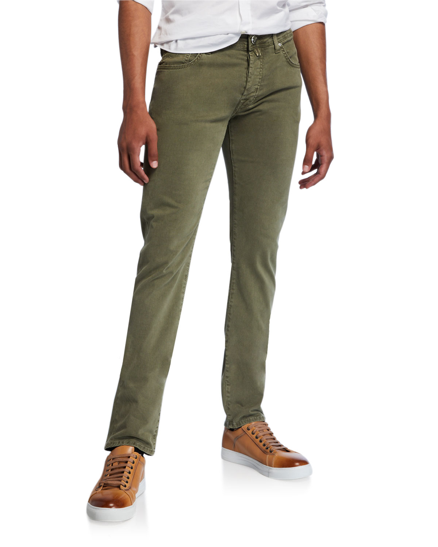 Jacob Cohen Jeans MEN'S BRUSHED DENIM 5-POCKET JEANS, LIGHT GREEN