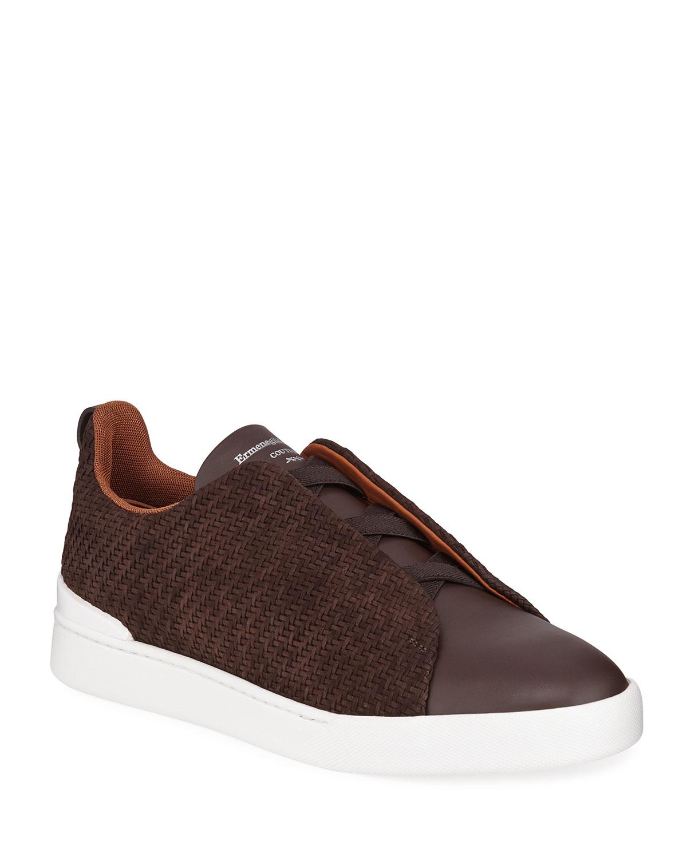 Ermenegildo Zegna Sneakers MEN'S TRIPE-STITCH PELLE TESSUTA WOVEN NUBUCK SNEAKERS