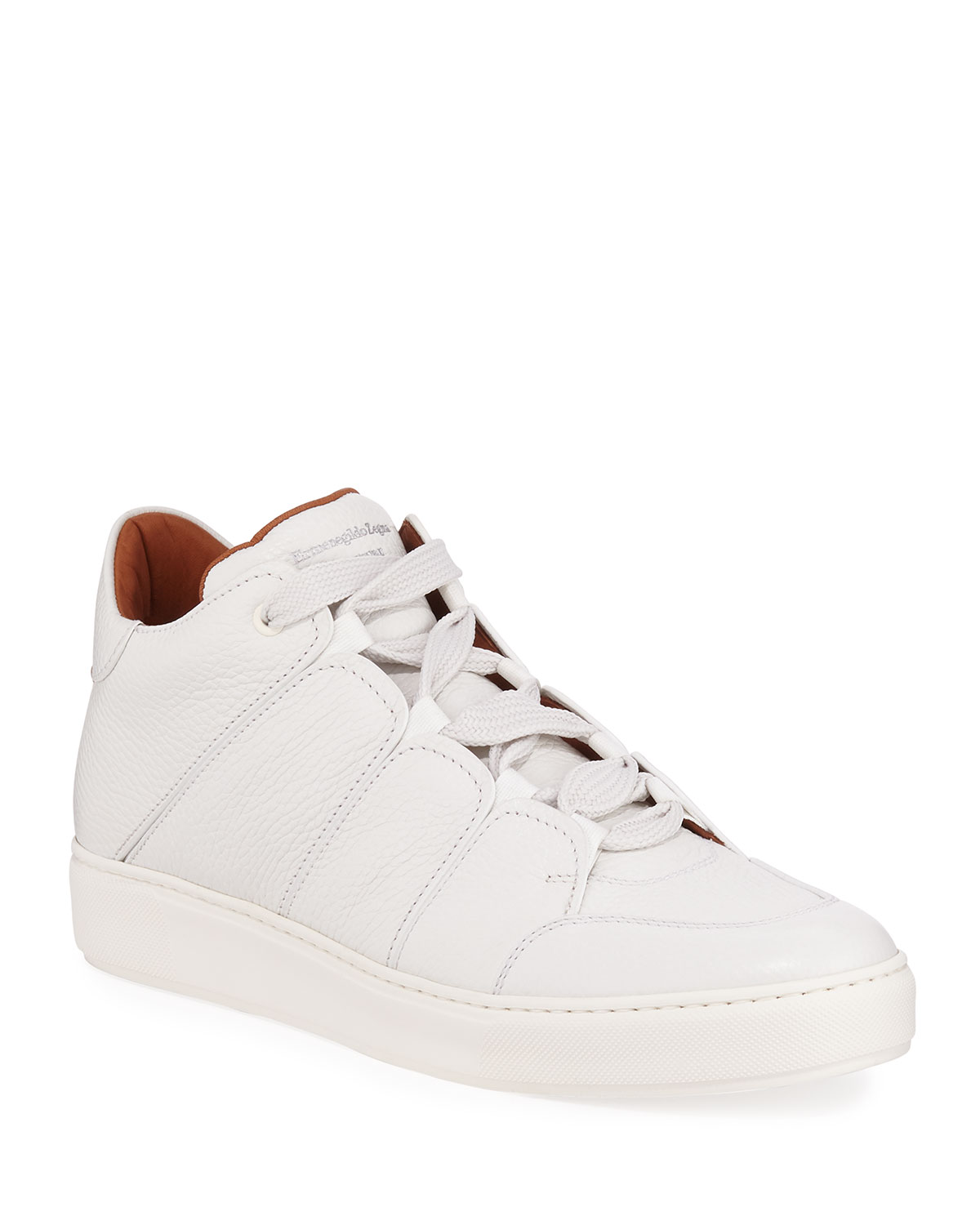 Ermenegildo Zegna Sneakers MEN'S TIZIANO GRAINED LEATHER HIGH-TOP SNEAKERS