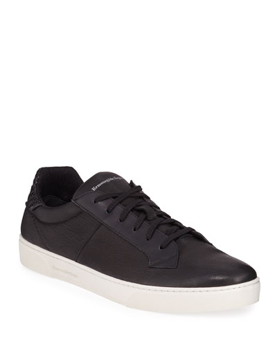 Men's Vulcanizzato Deerskin Leather Low-Top Sneakers
