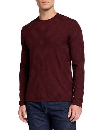 Men's Tonal-Pattern Crewneck Sweater