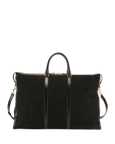Men's YSL Velvet/Leather Weekender Duffel Bag