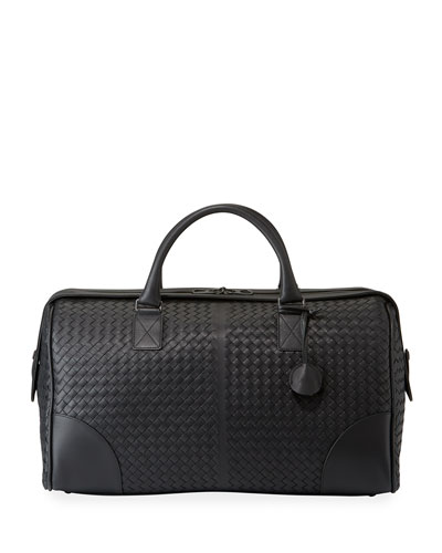 Men's Woven Leather Duffel Bag