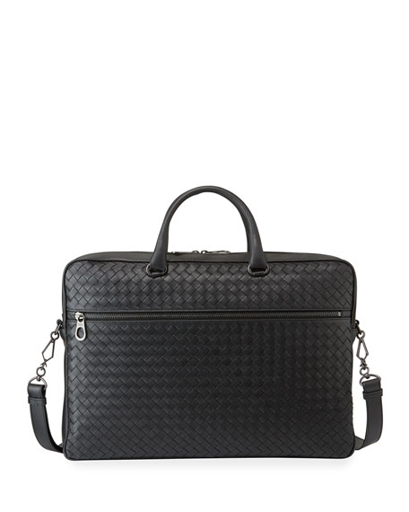 Bottega Veneta Men's Woven Leather Briefcase Bag