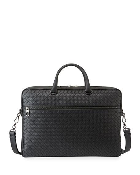 Bottega Veneta Men's Woven Leather Briefcase Bag