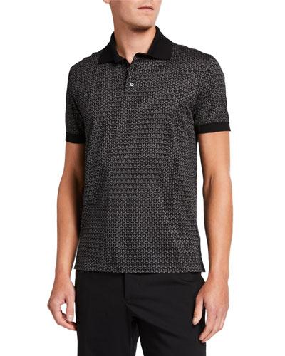 Men's Gancini-Print Pique Polo Shirt