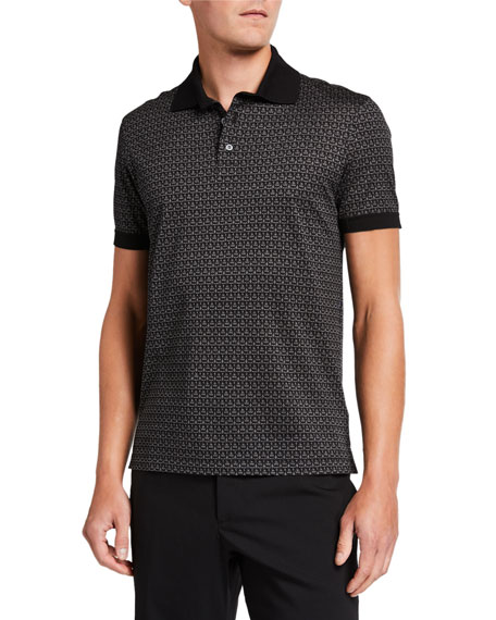Salvatore Ferragamo Men's Gancini-Print Pique Polo Shirt