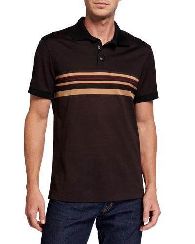 Men's Striped Pique Cotton Polo Shirt