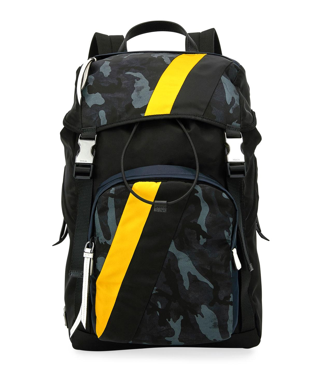 a0bc6bedb659b9 Prada Men's Tessuto Camouflage Stripe Backpack In Blue | ModeSens
