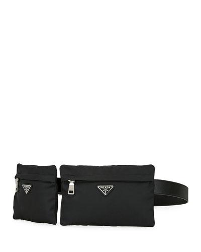 Men's Two-Pocket Tessuto & Leather Belt Bag